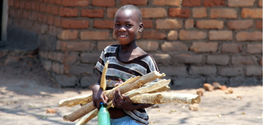 Malawi kid with woods